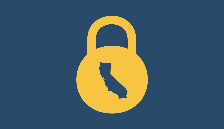 blue background; yellow lock; in the lock is a cutout of the state of California