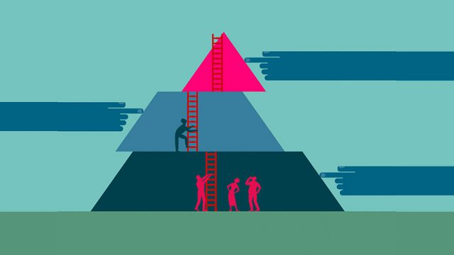 Multi-colored pyramid; from each side hands push the three pieces in different directions while people try to climb a latter to the top