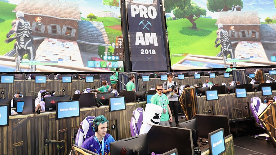 Gamers compete a the Fortnite Pro Am event for esports