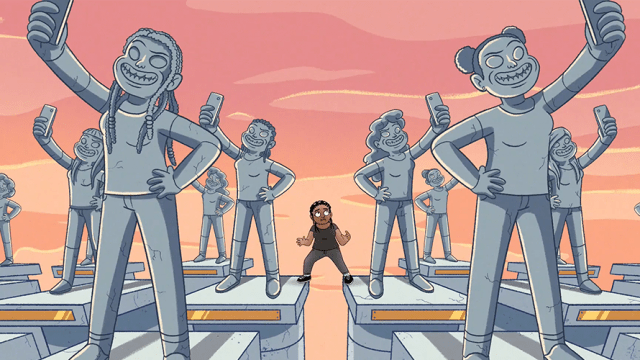 Statues of people are seen taking selfies; a little girl stands amongst the statues frightened