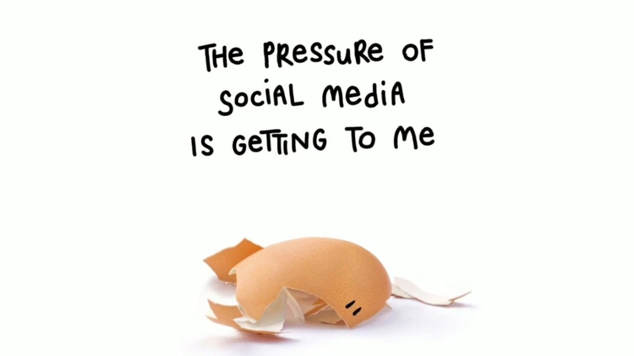 "A cracked egg with eyes drawn on its shell and the text ""The pressure of social media is getting to me"""