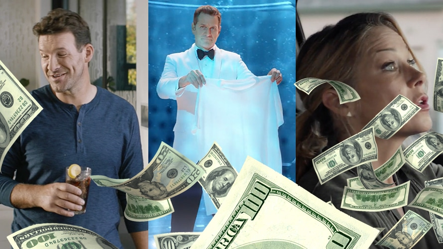 three different super bowl advertisements; hundred dollar bills in front of the advertisements