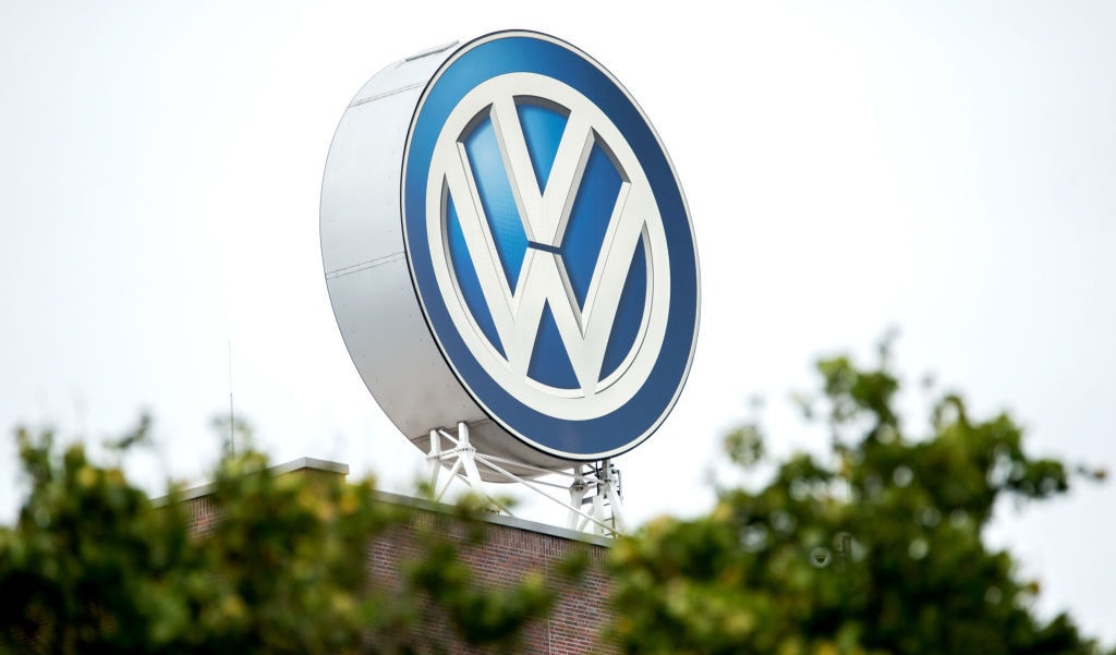 Blue and white Volkswagen rooftop signage