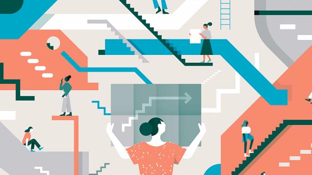 various women climb different metaphorical latter to success