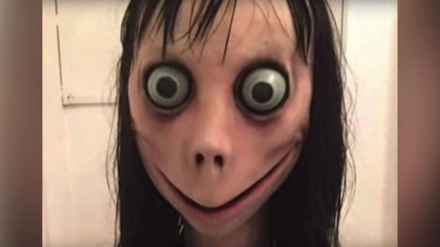 Momo, from the viral YouTube challenge, is shown.