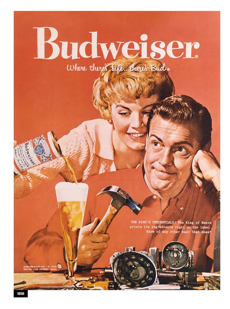 A Budweiser advertisement from 1958 is shown.