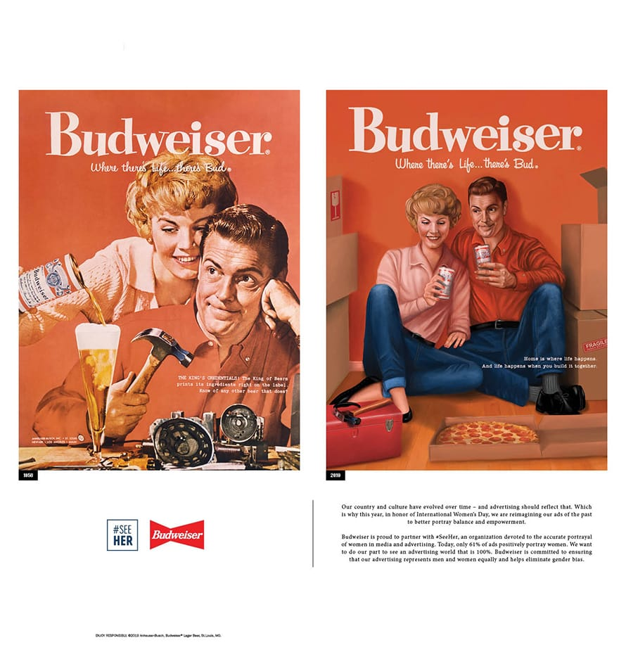 A 1956 print ad for Budweiser ran side-by-side in The New York Times today with a modernized version for International Women's Day.