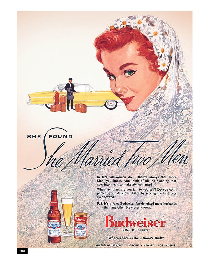 A Budweiser advertisement from 1956 is shown.