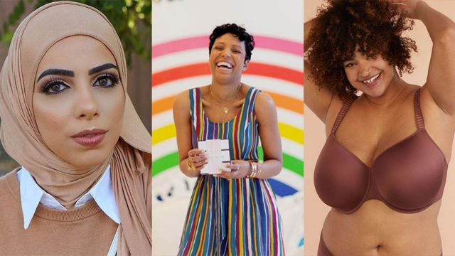 three different pictures of women; on the left is a woman wearing a beige headdress; in the middle is a woman laughing while wearing a striped dressed; on the right is a woman modeling in lingerie
