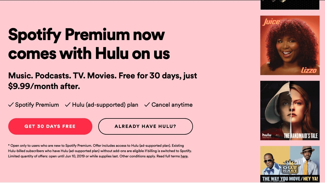 as hulu s subscriber totals surge spotify premium added the tv streaming service for free adweek. Black Bedroom Furniture Sets. Home Design Ideas