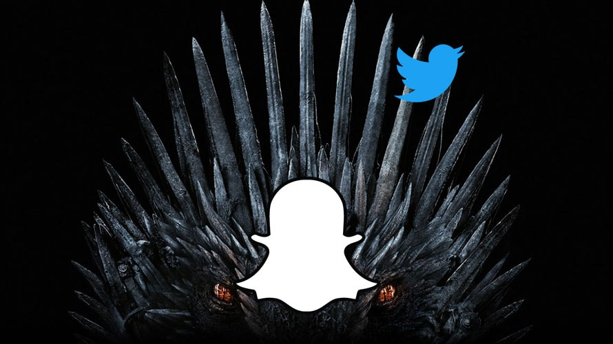 The Game of Thrones logo with the Snapchat logo on its face along with the Twitter logo