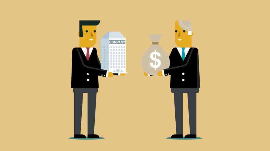 On the left is a man holding a large building; on the right is a man in a suit holding a bag with a money sign on it