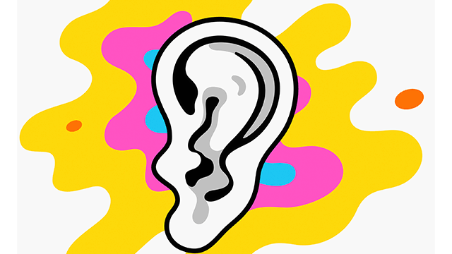 there is a white ear; behind the ear are the colors blue, pink, and yellow