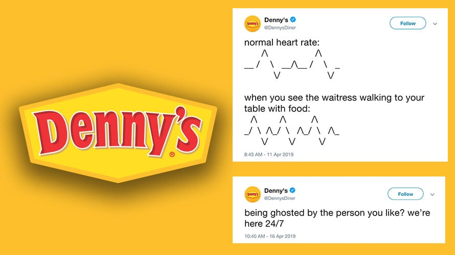 A split image; on the left is the Denny's logo; on right are two Denny's tweets