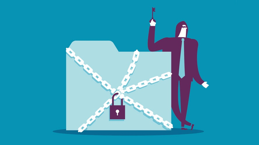 A blue file folder is locked in chains; to the right of the file is a man leaning on the file, holding the key