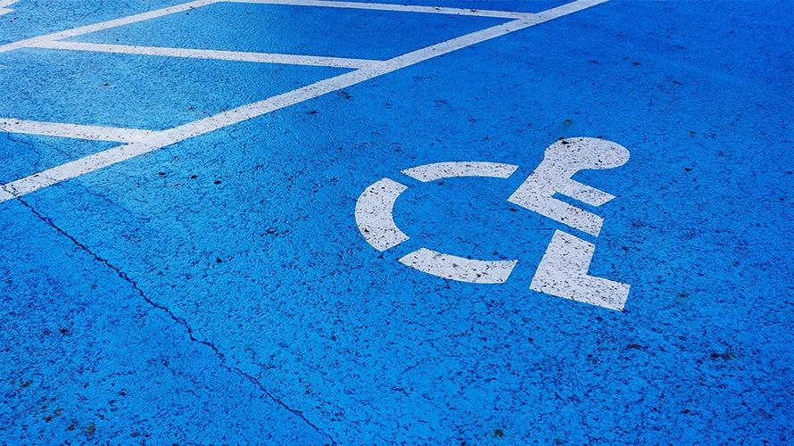 A handicap parking space