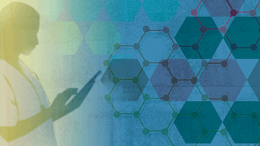 Green and blue background; on the left a woman is using an iPad; to the right is numerous hexagons