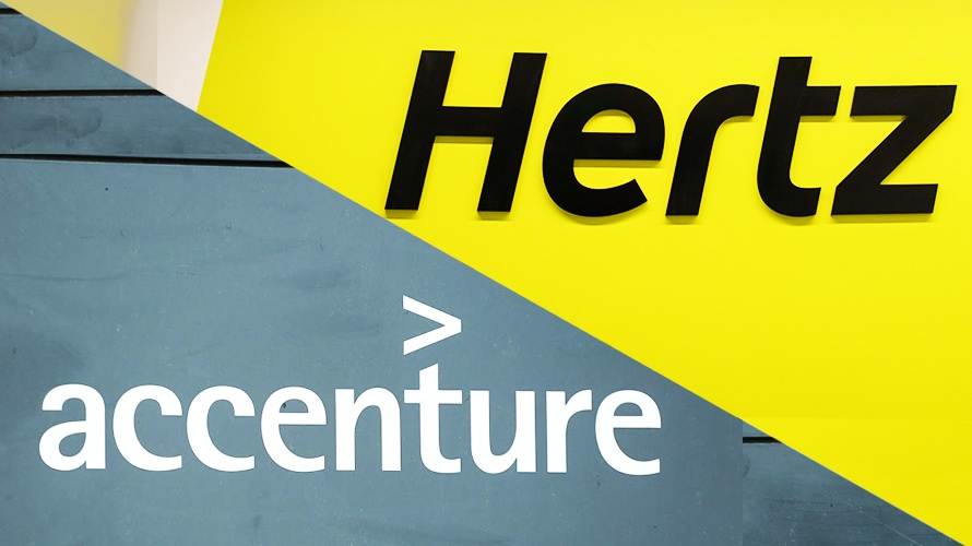 The Hertz logo and the Accenture logo are positioned side-by-side.