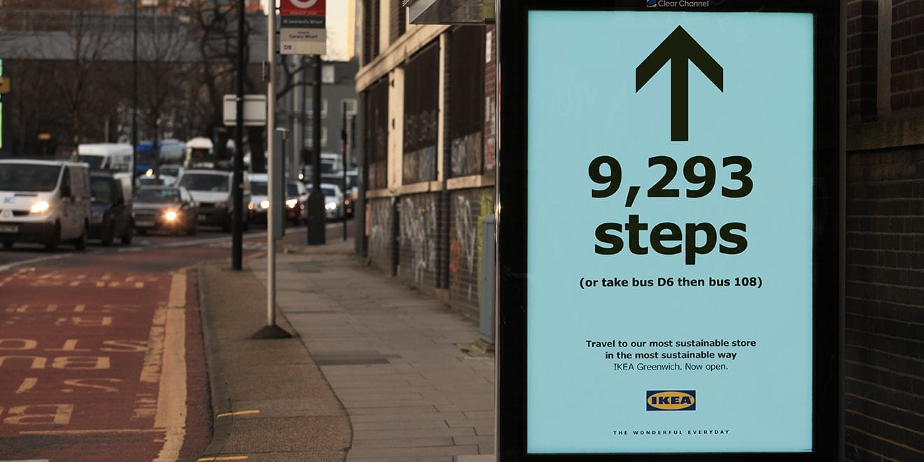 For Its Most Sustainable Store, Ikea Is Advertising Directions via Steps and Mass Transit