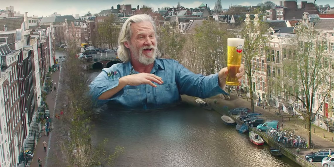 Jeff Bridges is imagined as a literal bridge in this Amstel ad.