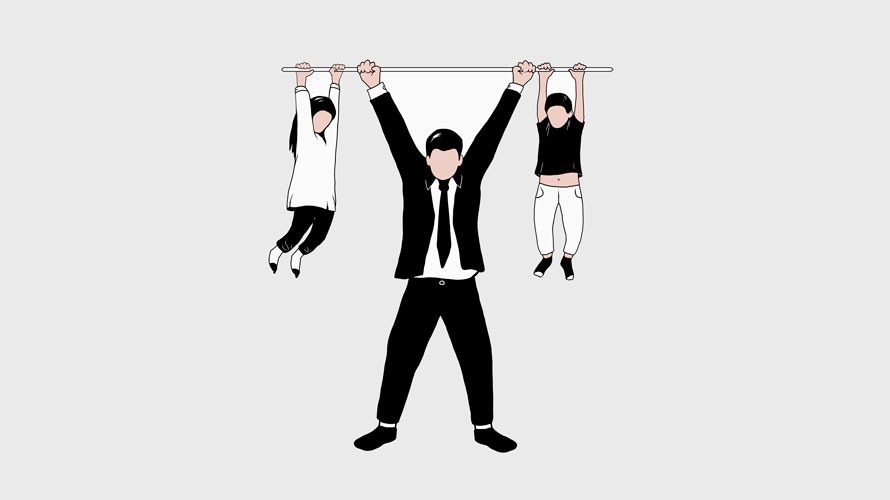 Three family members hang from a beam; on the left is the daughter; in the middle is the dad in a suit; the right is a small boy