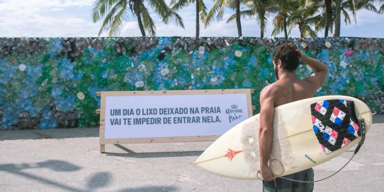 Corona Blocked Part of Ipanema Beach With a Wall Made From 3 Days of Trash Gathered There