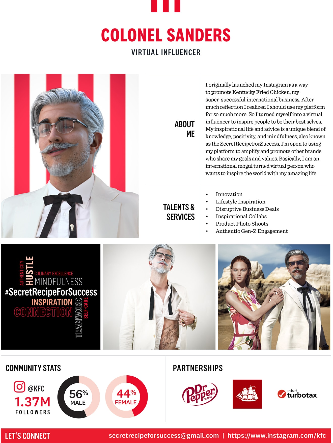 Media kit for Colonel Sanders as a virtual influencer