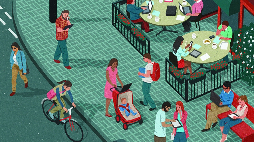 A normal street corner; people go about their daily live; a man rides a bike; a lady pushes her stroller; people eat in a cafe; everyone is going about their lives