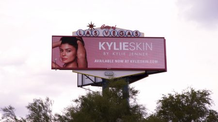 Kylie Skin advertised on a billboard along Las Vegas Boulevard