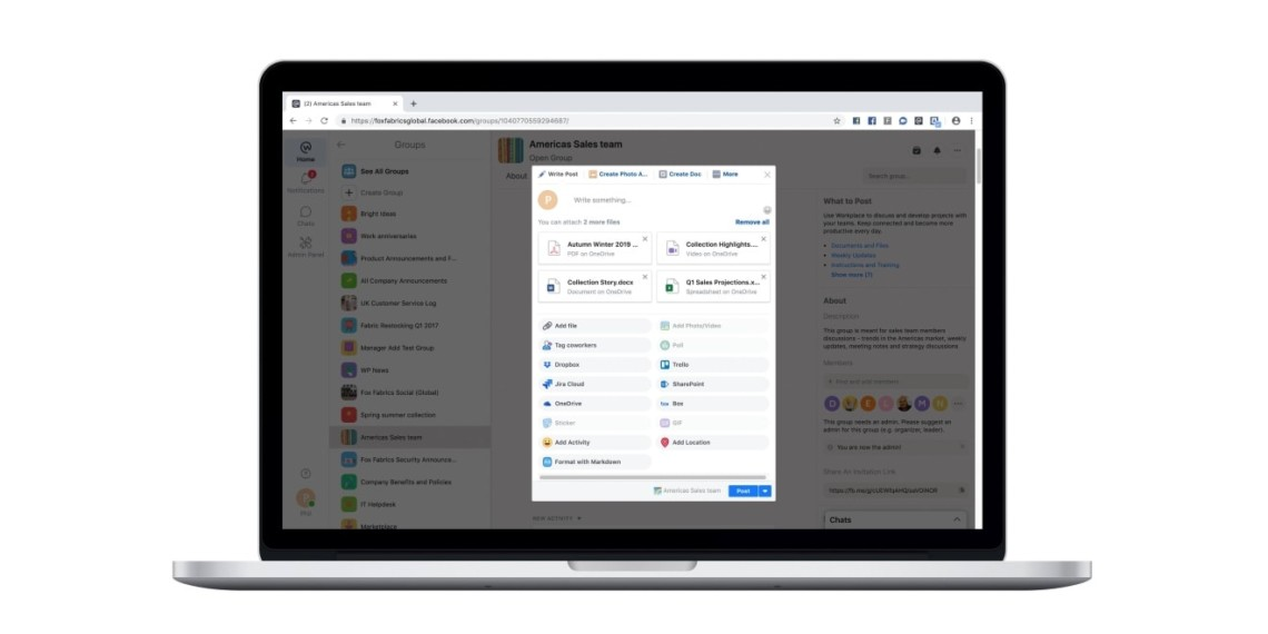 Workplace by Facebook Added Several New Ways to Share Files