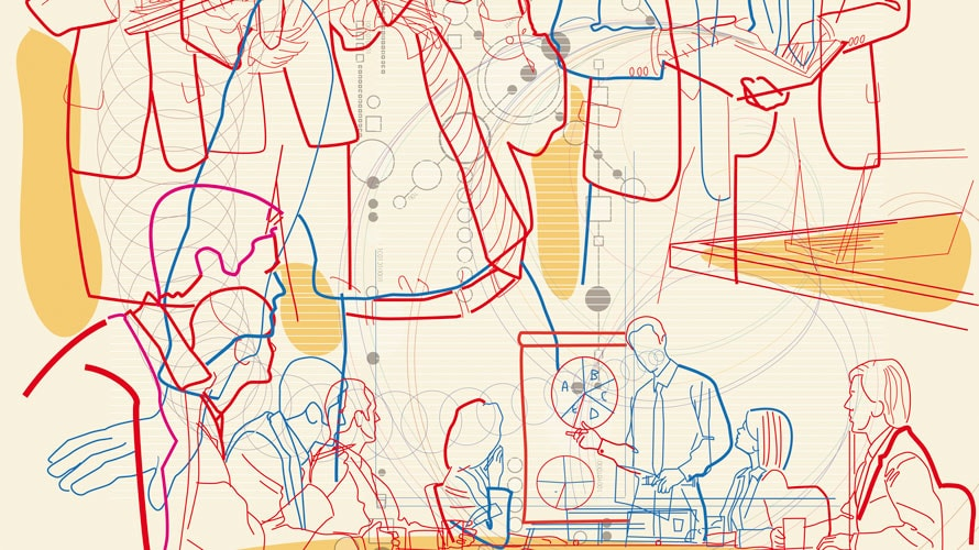 Outlines of tons of people in a classroom; the outlines are drawn in red and blue colored pencil