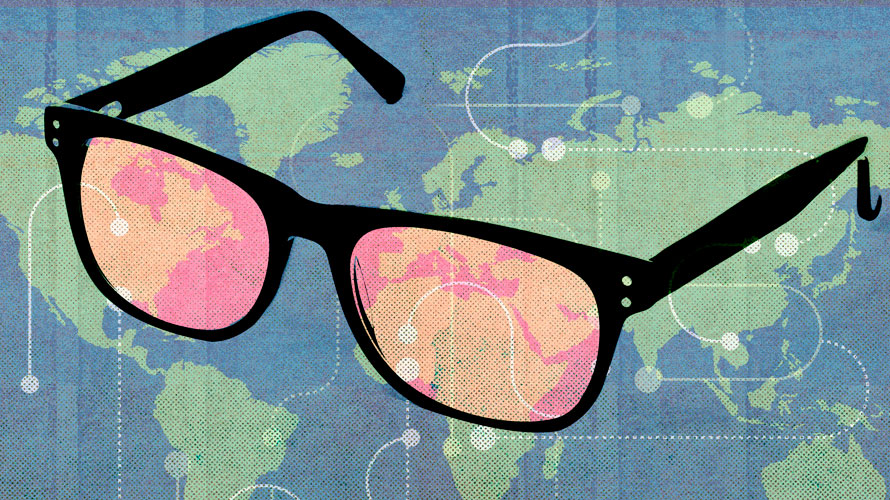 In the background is a map of the world; A pair of glasses is covering a majority of the map; the lenses of the glasses are red