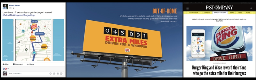 Three side-by-side images: The first is of a Facebook post that shows a picture of Waze and the Whopper Detour; second is a billboard that says 'Extra Miles'; last is a screenshot of an article describing what the Whopper Detour is.