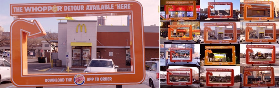 """""""The Whopper Detour Avallable Here"""" frames a McDonald's store. The next image includes 12 similarly framed McDonald's stores."""