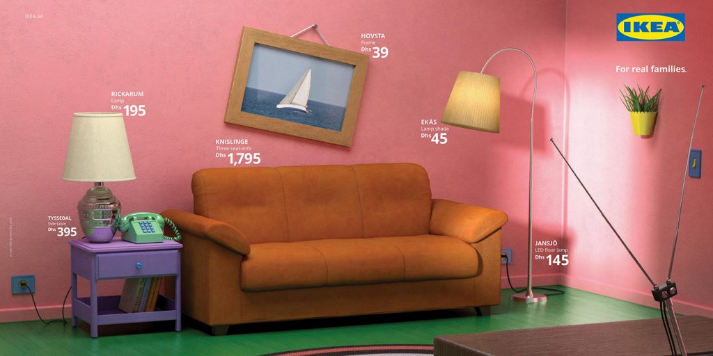 Ikea never mentions The Simpsons by name, but it's easy to recognize the cartoon's iconic living room