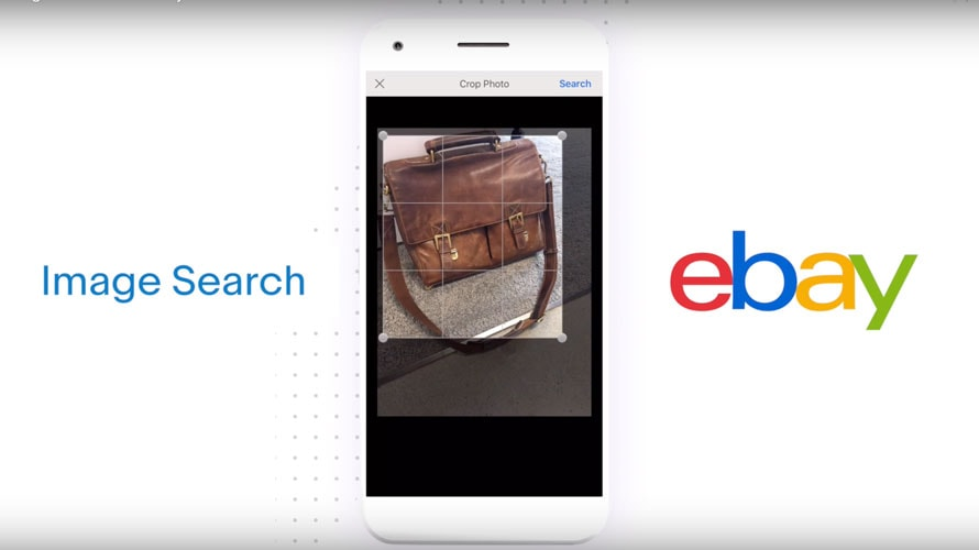 There is a phone with a picture of a briefcase; on the left side it says 'image search' and on the right there is the ebay logo