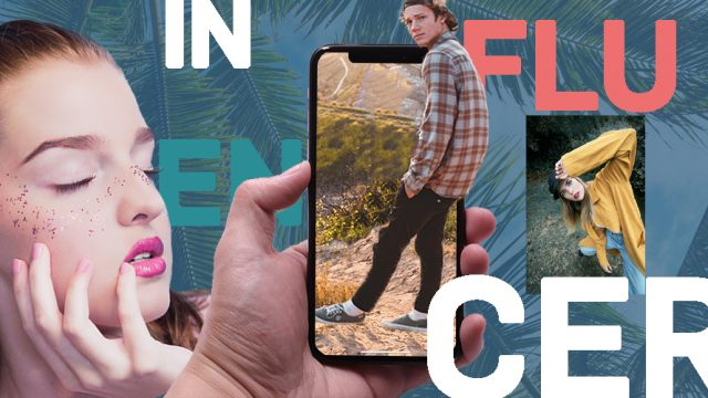 A woman rests in the background with her hand on her face; a phone is in the middle of the piece with a guy coming out of the phone; in the background the word 'influencer' is written