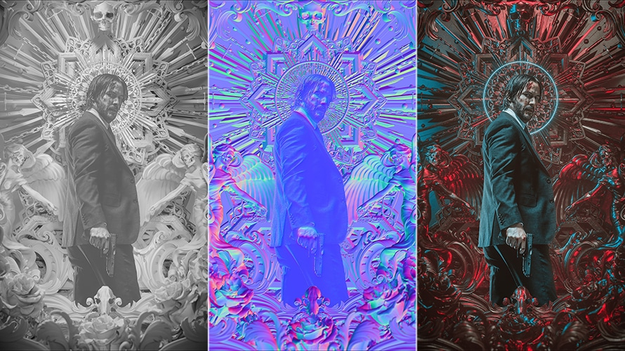Art for the John Wick 3 movie poster by Billy Bogiatzoglou