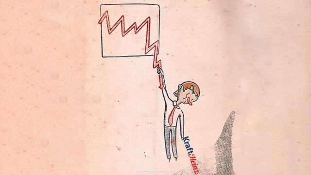 a pink background; a line graph is drawn in the middle of the background; a cartoon character hangs from the corner of the graph; from the persons other hand hangs the Kraft Heinz logo