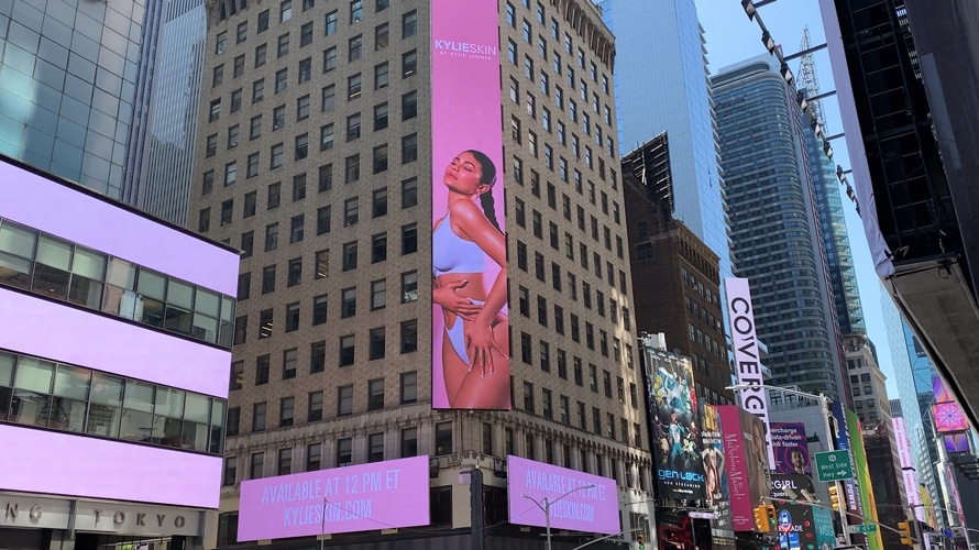 An ad featuring Kylie Jenner is shown in New York's Times Square.