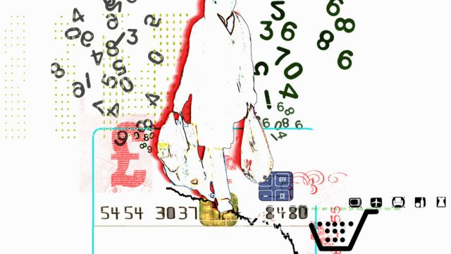 The outline of a person is seen carrying grocery bags; surrounding the woman is a ton of random numbers