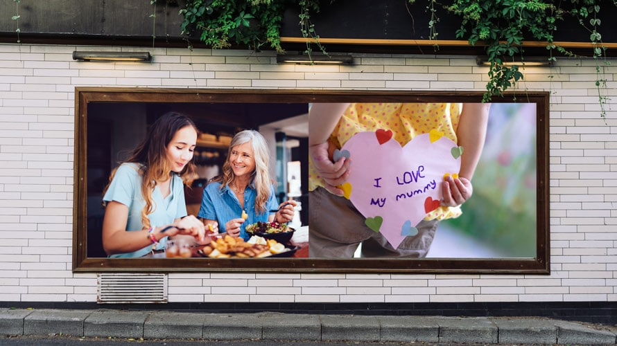 Two images side by side; One image on the left is a mother and her daughter enjoying a meal together; the image on the right is a happy Mother's Day card
