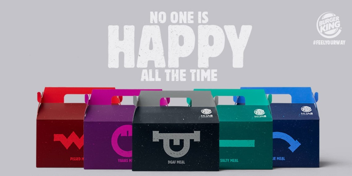 "different colored Burger King Boxes are lined up; The top of the image says ""No one is Happy All the Time"""