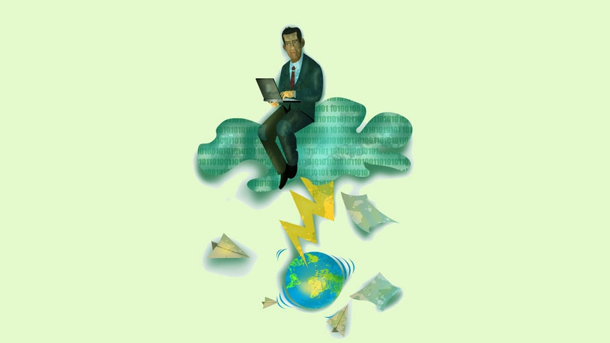 There is a picture of the globe; a lighting blot is coming out of a cloud; a top the cloud is a man sitting and on his computer