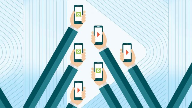 Six arms holding up their phone searching for a signal; the arms are surrounded by blue lines against a white background