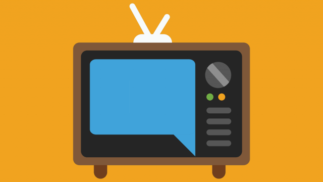 Orange background; In the foreground is a vintage television set
