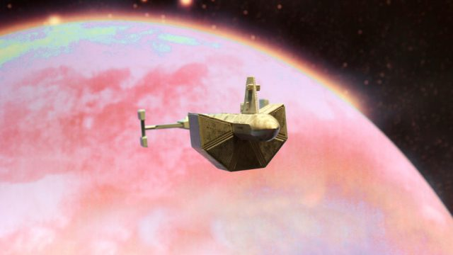 in space with a planet in the background; a spaceship is seen orbiting and exploring space