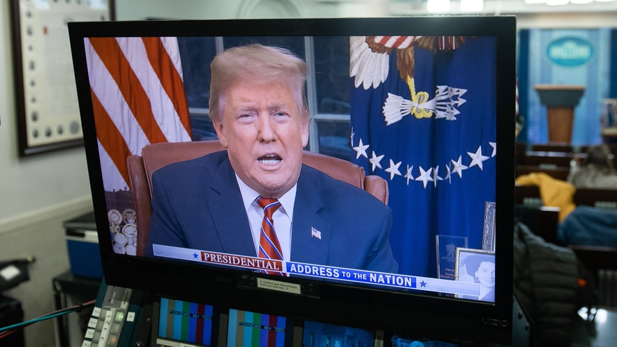a tv showing donald trump