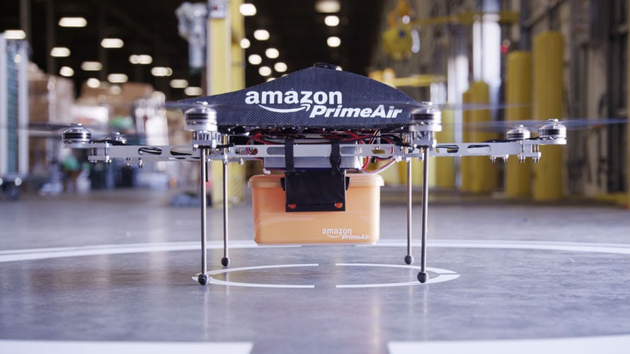Amazon Prime Air drone with a package for FAA regulation story