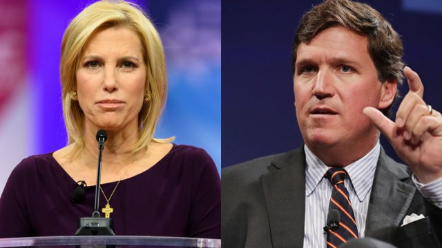 Two images on the left is a woman speaking into a microphone; on the right a man speaking and holding up his hand